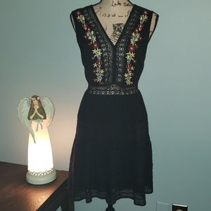 Anthro. She & Sky Embroidered Crochet Tier Dress